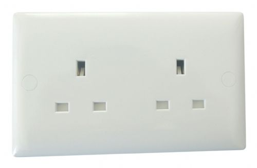 Varilight XO5UW Value Polar White 2 Gang 13A Unswitched Plug Socket